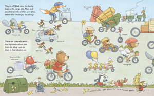 children's book illustration of bicycles