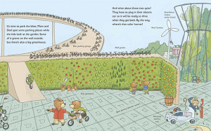 children's book illustration of bicycle parking and urban garden