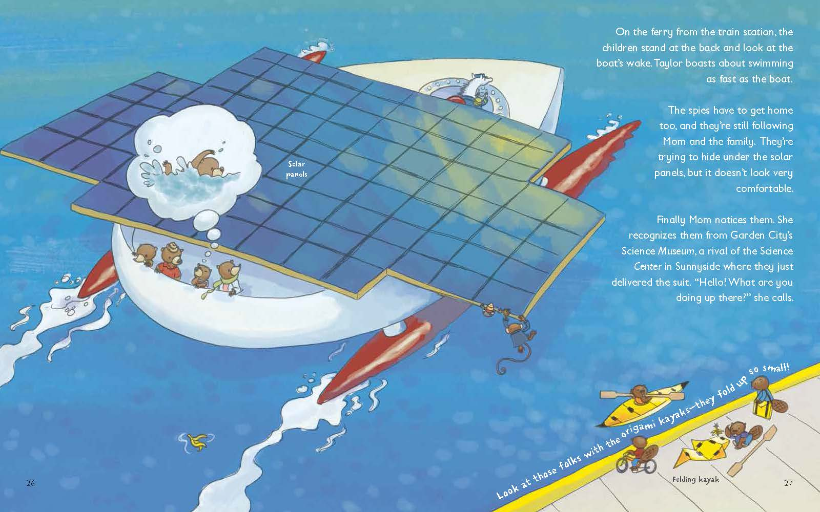 children's book illustration of solar powered boat